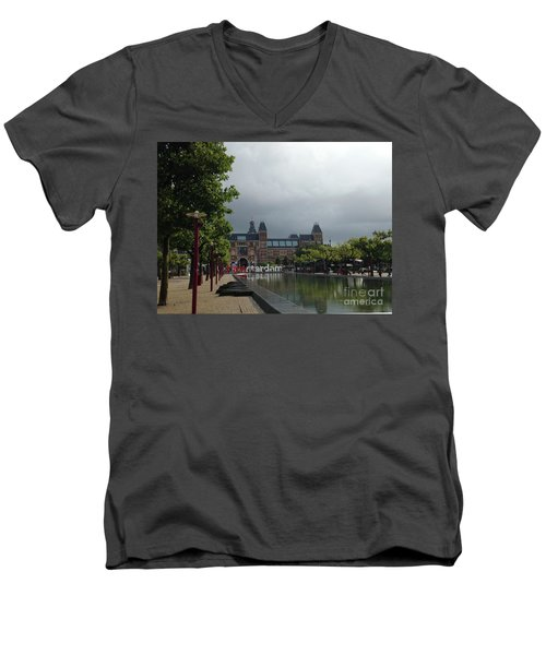 Men's V-Neck T-Shirt featuring the photograph I Amsterdam by Therese Alcorn