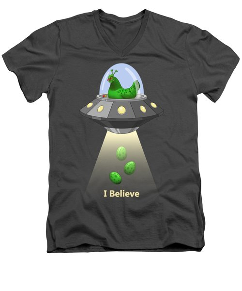 I Believe In Green Chicken Aliens Men's V-Neck T-Shirt