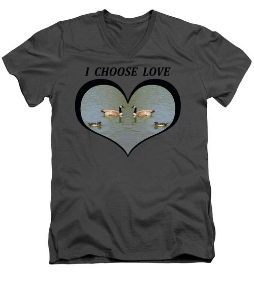 I Chose Love With A Spoonbill Duck And Geese On A Pond In A Heart Men's V-Neck T-Shirt by Julia L Wright