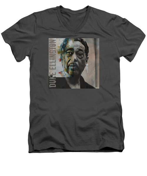 Men's V-Neck T-Shirt featuring the painting I Got It Bad And That Ain't Good by Paul Lovering