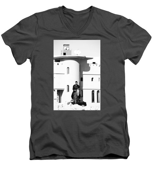 Men's V-Neck T-Shirt featuring the photograph I Gotta Leave This Town by Jez C Self