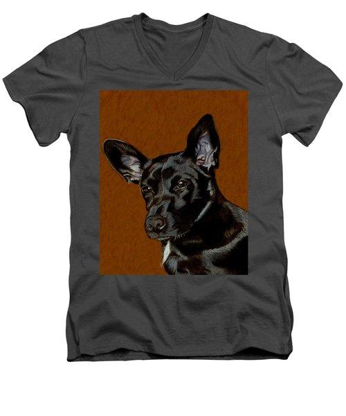I Hear Ya - Dog Painting Men's V-Neck T-Shirt by Patricia Barmatz