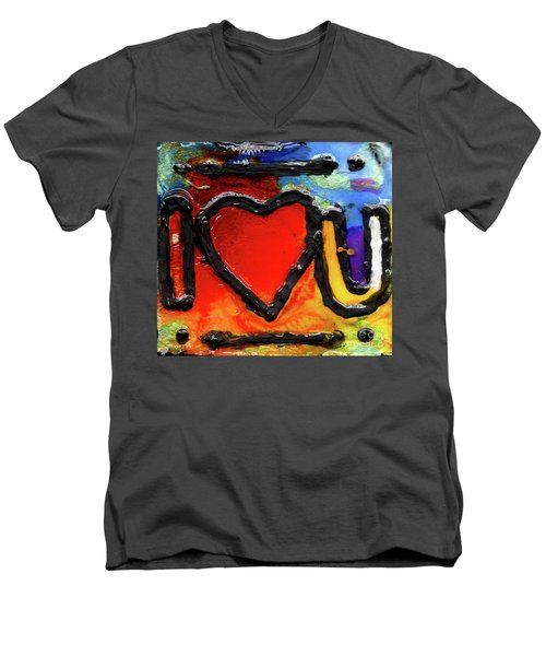 Men's V-Neck T-Shirt featuring the painting I Heart You by Genevieve Esson