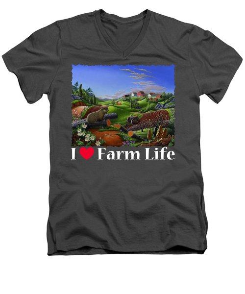 I Love Farm Life T Shirt - Spring Groundhog - Country Farm Landscape 2 Men's V-Neck T-Shirt by Walt Curlee
