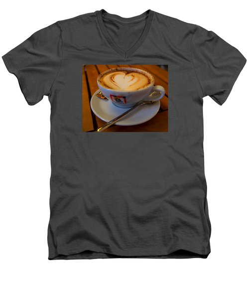 Men's V-Neck T-Shirt featuring the photograph I Love Coffee by Laura Ragland