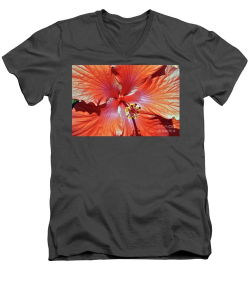 I Love Orange Flowers 2 Men's V-Neck T-Shirt