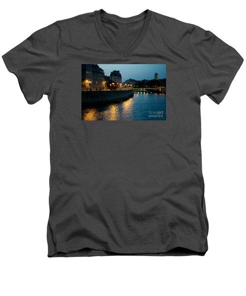 I Love Paris Men's V-Neck T-Shirt by Sandy Molinaro