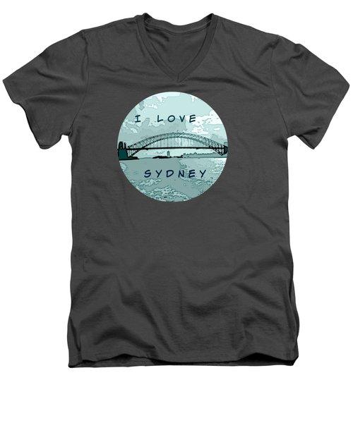 I Love Sydney Men's V-Neck T-Shirt by Leanne Seymour