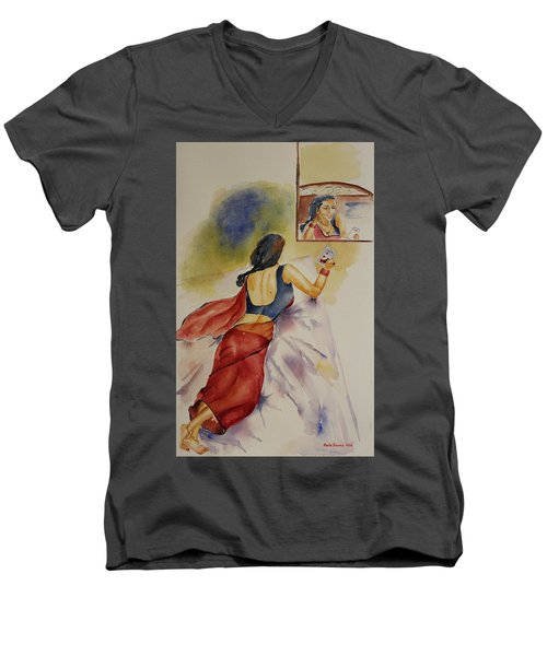 Men's V-Neck T-Shirt featuring the painting I Miss You by Geeta Biswas