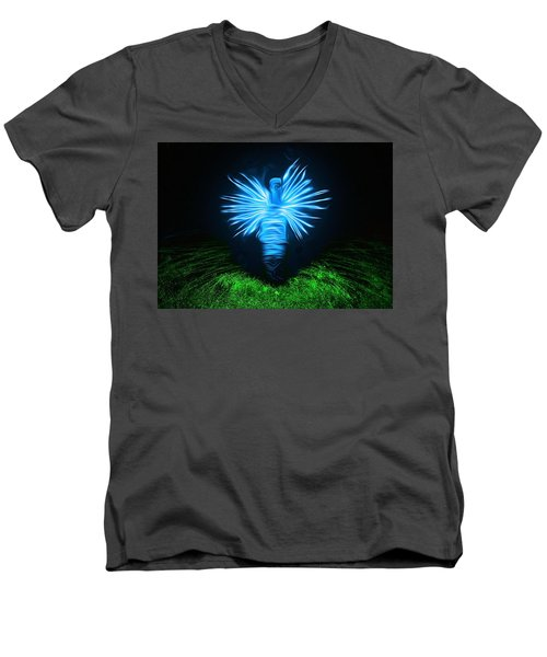 Men's V-Neck T-Shirt featuring the photograph I Sing The Body Electric by Mark Fuller