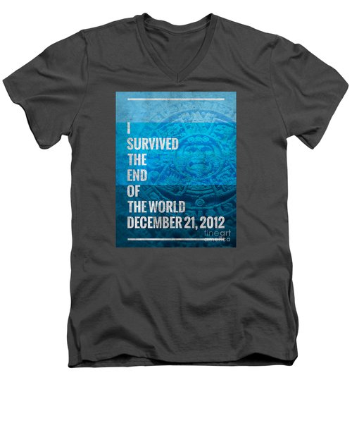 Men's V-Neck T-Shirt featuring the digital art I Survived The End Of The World by Phil Perkins
