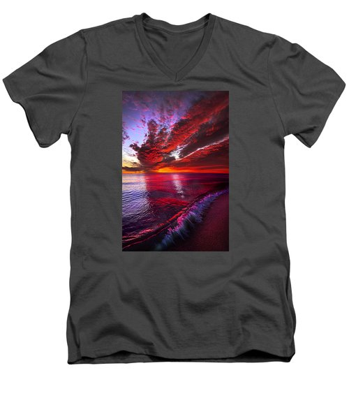 Men's V-Neck T-Shirt featuring the photograph I Wake As A Child To See The World Begin by Phil Koch