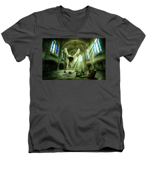 Men's V-Neck T-Shirt featuring the digital art I Want To Brake Free by Nathan Wright