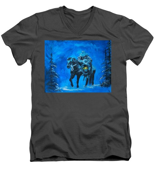 Men's V-Neck T-Shirt featuring the painting I Will Carry You by Leslie Allen