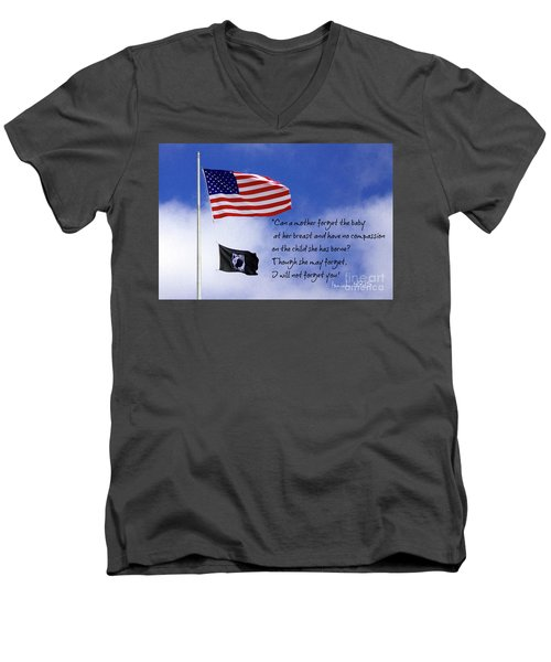 Men's V-Neck T-Shirt featuring the photograph I Will Not Forget You American Flag Pow Mia Flag Art by Reid Callaway