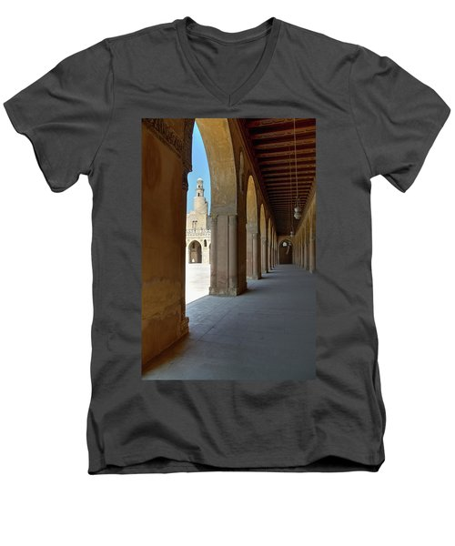 Ibn Tulun Great Mosque Men's V-Neck T-Shirt by Nigel Fletcher-Jones