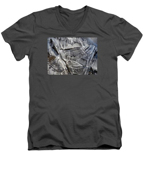 Men's V-Neck T-Shirt featuring the photograph Ice Abstract by Lynda Lehmann