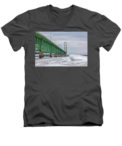 Men's V-Neck T-Shirt featuring the photograph Ice And Mackinac Bridge  by John McGraw