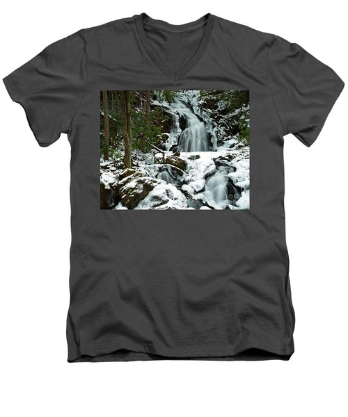 Ice And Snow, Mouse Creek Falls, Great Smoky Mountain National Park Men's V-Neck T-Shirt