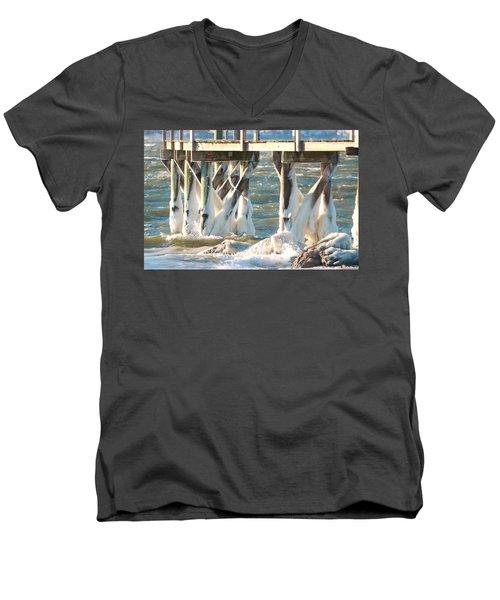 Ice Covered Pilings Men's V-Neck T-Shirt