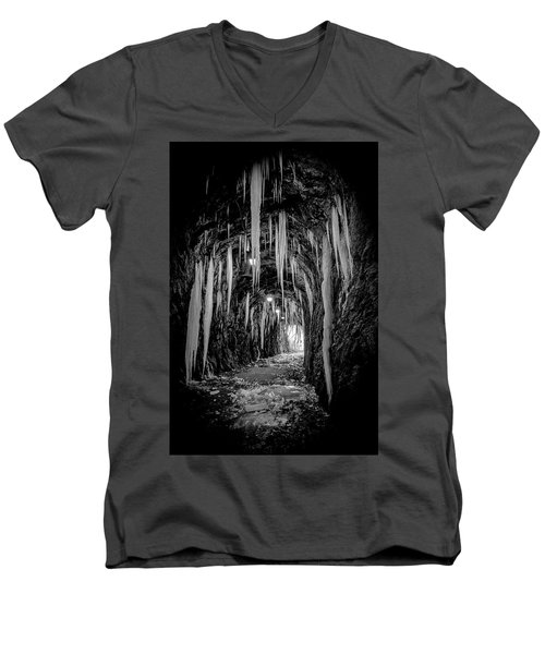 Men's V-Neck T-Shirt featuring the photograph Ice Monochrome by Alan Raasch