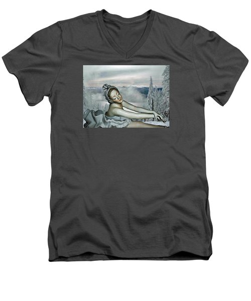 Men's V-Neck T-Shirt featuring the mixed media Ice Princess by Lyric Lucas