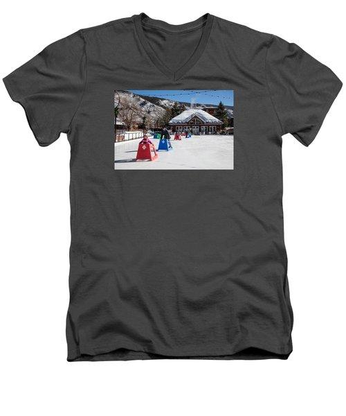 Ice Rink In Downtown Aspen Men's V-Neck T-Shirt by Carol M Highsmith