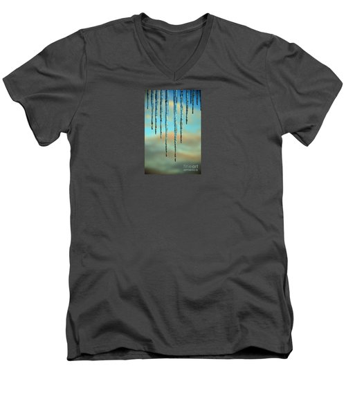 Men's V-Neck T-Shirt featuring the photograph Ice Sickles - Winter In Switzerland  by Susanne Van Hulst
