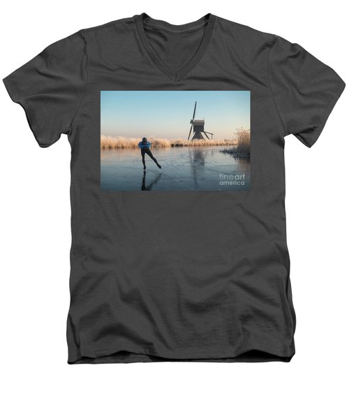 Ice Skating Past Frosted Reeds And A Windmill Men's V-Neck T-Shirt