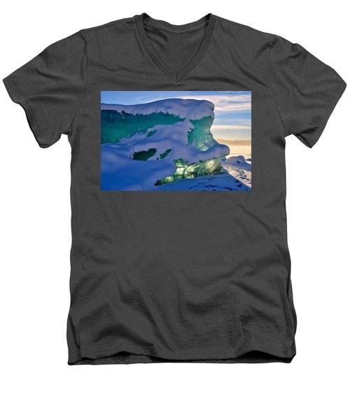Iceberg's Glow - Mendenhall Glacier Men's V-Neck T-Shirt by Cathy Mahnke