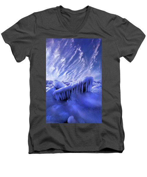 Men's V-Neck T-Shirt featuring the photograph Iced Blue by Phil Koch