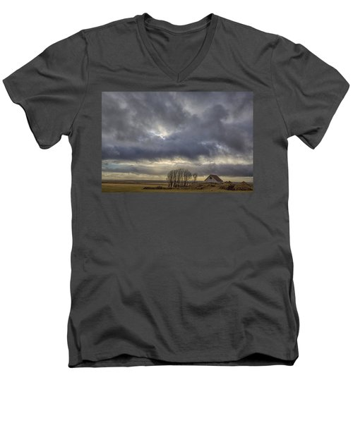 Men's V-Neck T-Shirt featuring the tapestry - textile Iceland Buildings by Kathy Adams Clark
