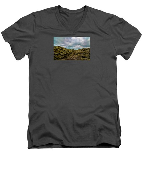 Iceland Moss And Clouds Men's V-Neck T-Shirt by Venetia Featherstone-Witty
