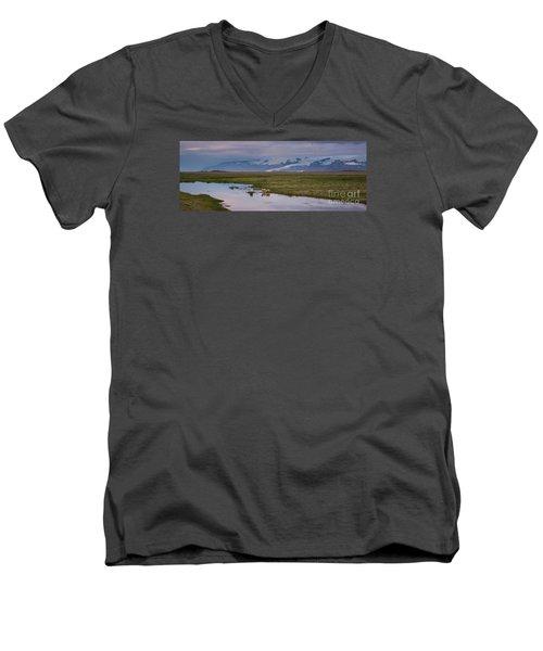 Iceland Sheep Reflections Panorama  Men's V-Neck T-Shirt