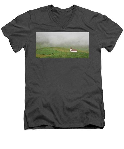 Icelandic Chapel Men's V-Neck T-Shirt by Joe Bonita