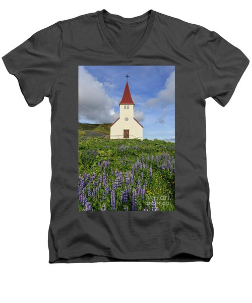 Men's V-Neck T-Shirt featuring the photograph Icelandic Church Among The Fields Of Lupine by Edward Fielding
