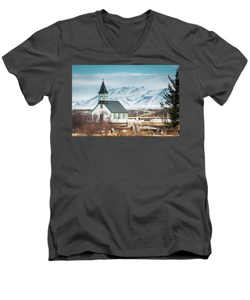 Icelandic Church, Thingvellir Men's V-Neck T-Shirt
