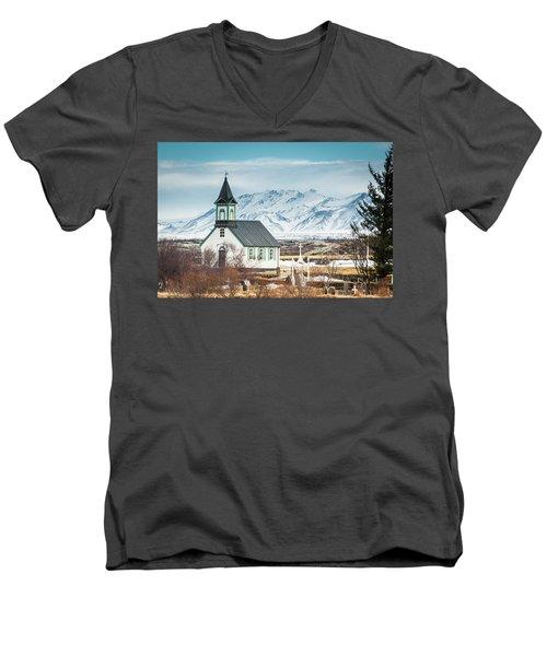 Icelandic Church, Thingvellir Men's V-Neck T-Shirt
