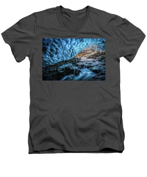 Icelandic Ice Cave Men's V-Neck T-Shirt