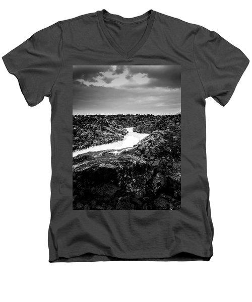Icelandic Silica Stream In Black And White Men's V-Neck T-Shirt