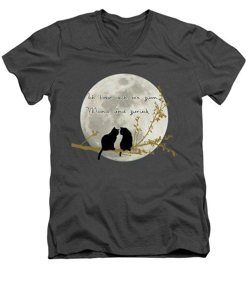 Men's V-Neck T-Shirt featuring the digital art Ich Liebe Dich Bis Zum Mond Und Zuruck  by Linda Lees