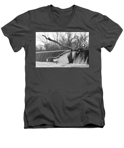 Icicle Laden Branch Over The Waterfall Men's V-Neck T-Shirt