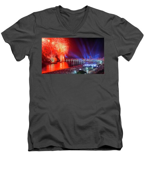 Iconic And Breath-taking Fireworks Display On Copacabana Beach,  Men's V-Neck T-Shirt