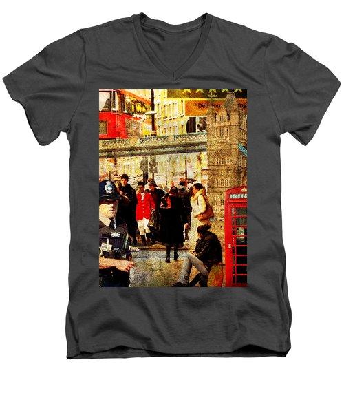 Iconic London Men's V-Neck T-Shirt by Judi Saunders