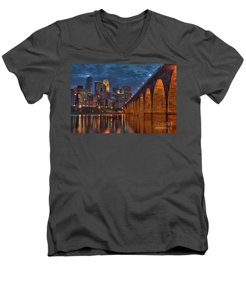 Iconic Minneapolis Stone Arch Bridge Men's V-Neck T-Shirt