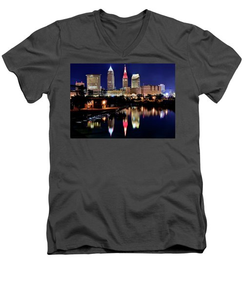 Iconic Night View Of Cleveland Men's V-Neck T-Shirt