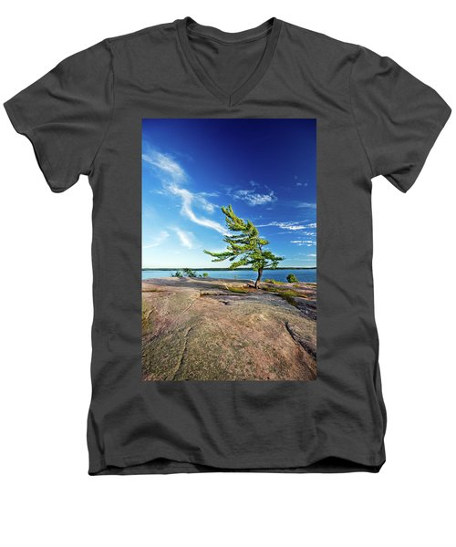 Iconic Windswept Pine Men's V-Neck T-Shirt