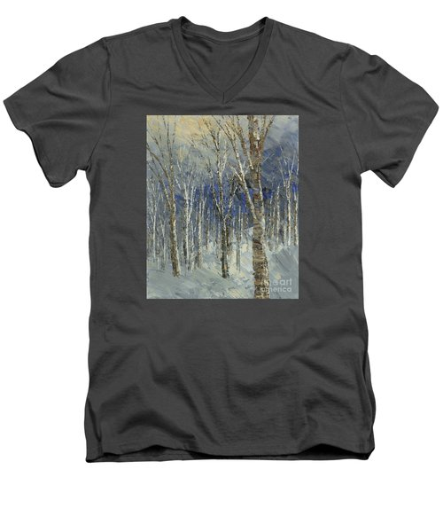 Men's V-Neck T-Shirt featuring the painting Icy Bells by Tatiana Iliina