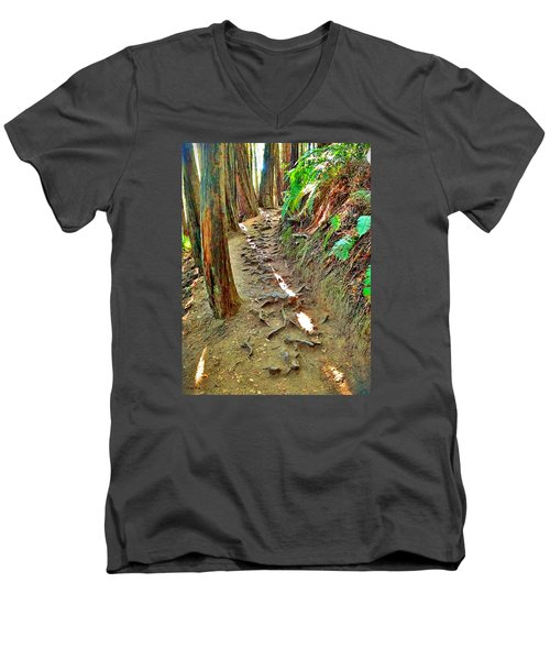 Men's V-Neck T-Shirt featuring the photograph I'd Rather Be Hiking by Kathy Kelly