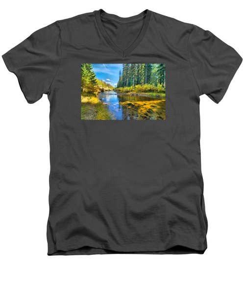 Idaho Stream 2 Men's V-Neck T-Shirt by Josephine Buschman
